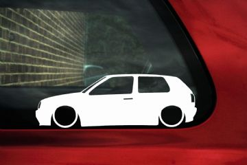 2x LOW VW Golf Mk3 Gti 16v / VR6 / TDi outline ,Silhouette,stickers / Decals.